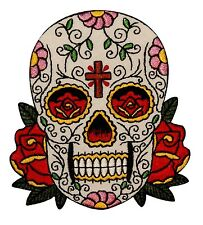 Sugar Skull & Cross Patch Muertos Candy Head Day of the Dead Iron-On Applique