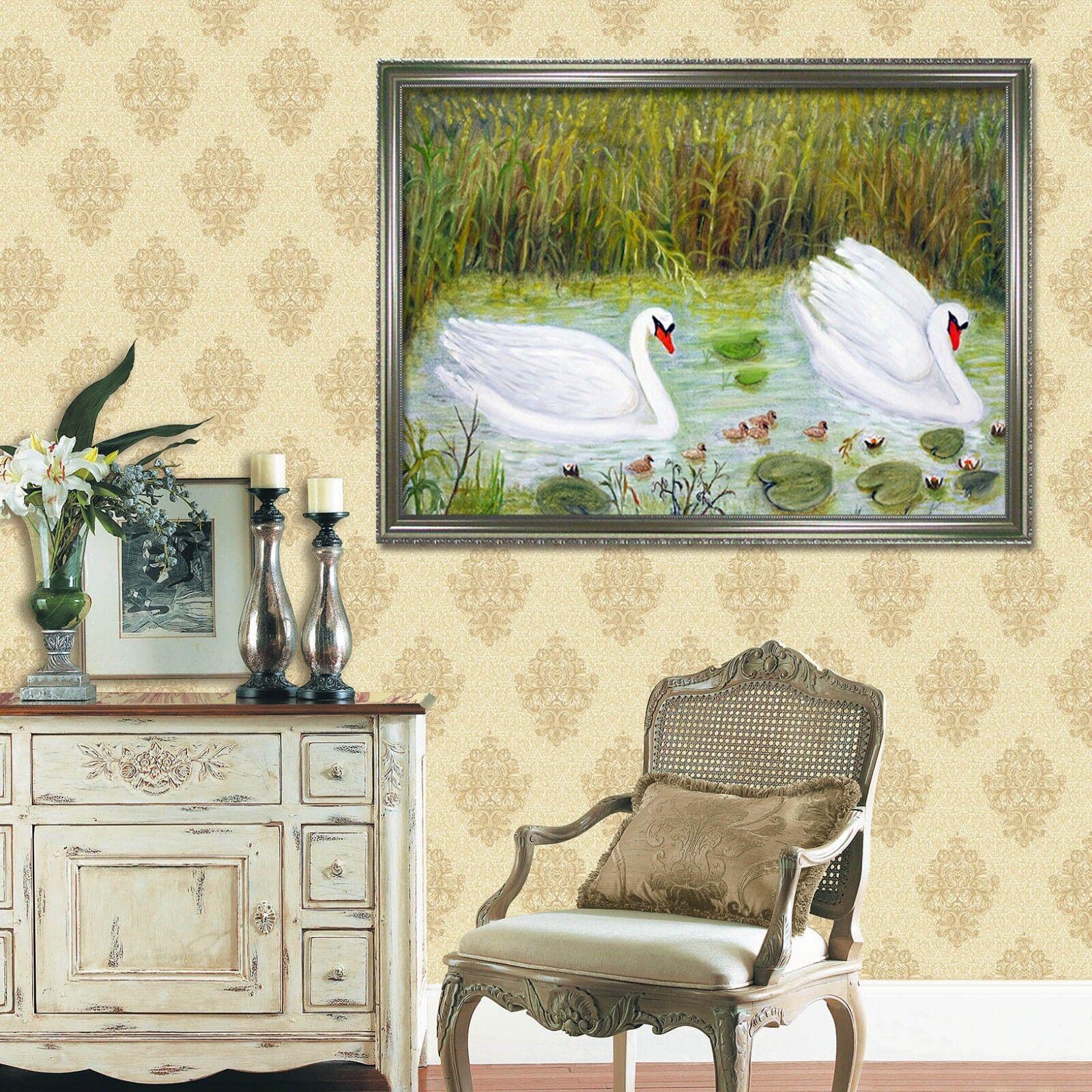 3D Swan Field Pond 1 Framed Poster Home Decor Print Painting Art AJ WALLPAPER AU