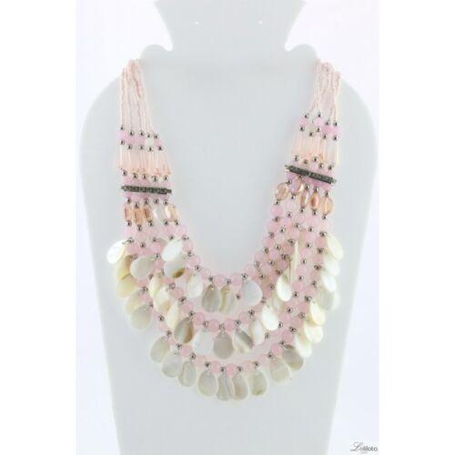 XL de lujo statement cadena collar Lolilota parís hippie madreperla vidrio rosa