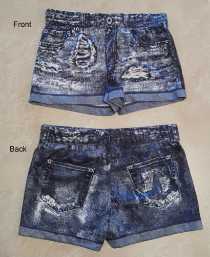 Juniors Printed Elastic Waist Denim Look Short Shorts NWT