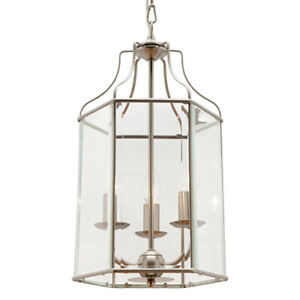 NEW Cougar Arcadia 3 Light Satin Chrome & Clear Bevelled Glass Pendant Light
