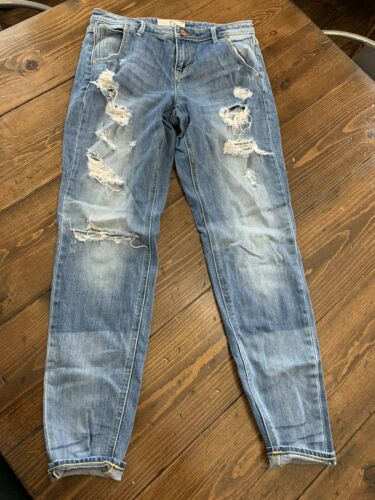 Dittos Jeans Boyfriend Crop Low Rise Distressed Si
