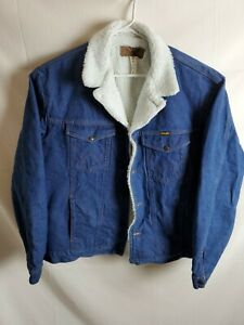 Men/'s New Denim Jacket in Blue With Faux Shearling Lining /& Collar Sizes S-XXL