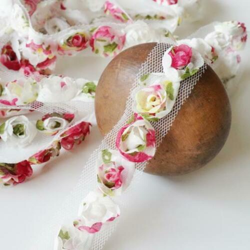 Buddly Crafts 20mm Shabby Flores de chifón Ajuste 1m Multi Rosa