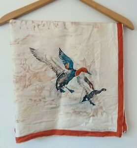 Vintage-ECHO-Scarfs-Inc-Silk-Scarf-034-Wild-Ducks-034-Hand-Painted-1950s-Rare
