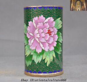 4-034-Old-Chinese-dynasty-bronze-Cloisonne-Enamel-flower-bird-Brush-Pot-pencil-vase