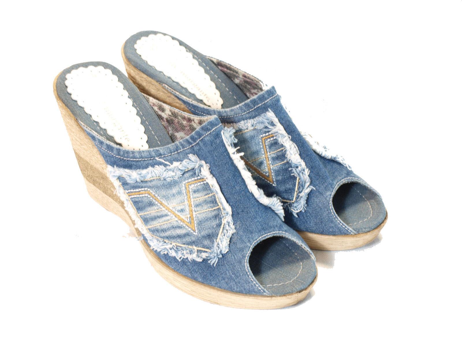 Sandalia, high-Denim/ligeramente/mm13104 jeans sandalia con tacón de cuña (10 cm) high-Denim/ligeramente/mm13104 Sandalia, 325e96