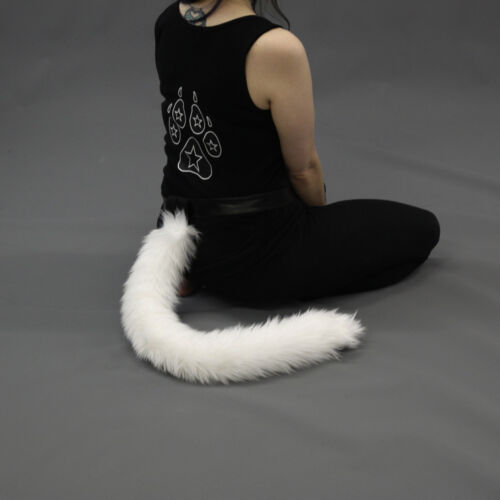 PAWSTAR Furry Kitty Tail Cat Cosplay Long Soft Thin Costume Gray Grey 3500