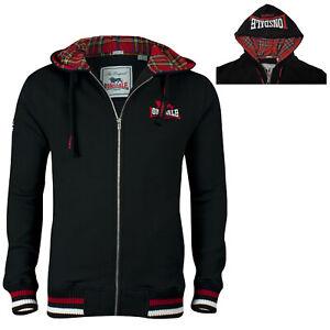 Lonsdale LANCASTER Black Zip Jacket Hoodie Sweatshirt Tartan Hood Regular Fit
