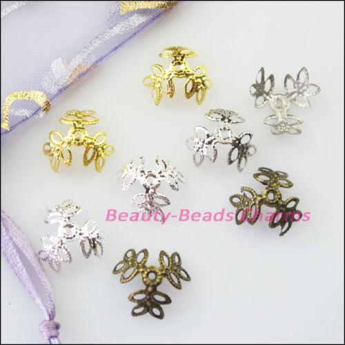 80Pcs Leaf Flower End Bead Caps Connectors 15mm Gold Silver Bronze Plated
