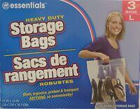3 Big Large Plastic Storage Bags W Handle 15 X 15 Zip Loc Clothes Bag