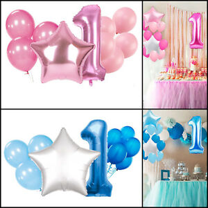 1st-Anniversaire-Decorations-de-fete-25pcs-Feuille-Latex-Ballons-Ensemble-Garcon-Fille-Rose-Bleu