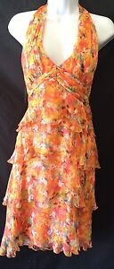 LAUNDRY-SHELLI-SEGAL-Silk-Dress-Orange-Halter-Tiered-Ruffle-Size-6-Women-s