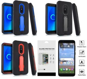 Details about For Alcatel TCL LX A502DL Hybrid w Kickstand Case Phone Cover  + Tempered Glass