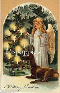 Christmas-Fabric-Block-Vintage-Victorian-Angel-Deer