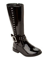 GIRLS BLACK PATENT DIAMANTE FLAT KNEE LENGTH ZIP WINTER BOOTS UK SIZE 10-4