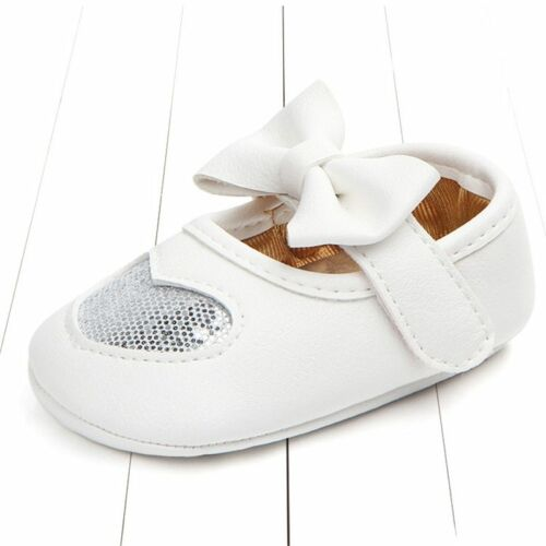 Fashion Baby Moccasins PU Leather Toddler First Walker Princess Love Bow Soft