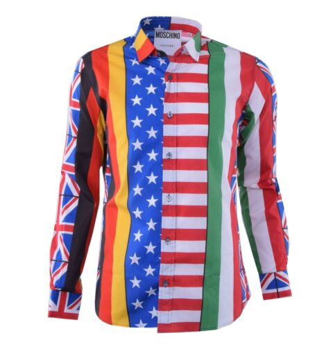 Moschino flags 04383 Chemise Shirt Avec Couture flaggen l'empreinte imprimée Runway vRSwvqr