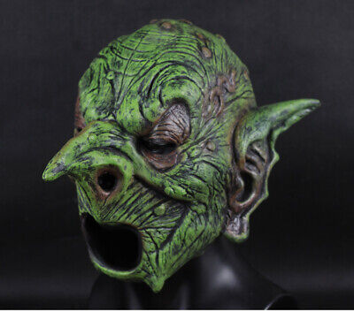 Orc Green Goblin Mask Full Face Cosplay Witch Sprite Halloween Costume Accessory Ebay