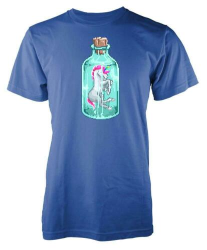 80s 8 bit blocky Unicorn In A Bottle Adult T Shirt
