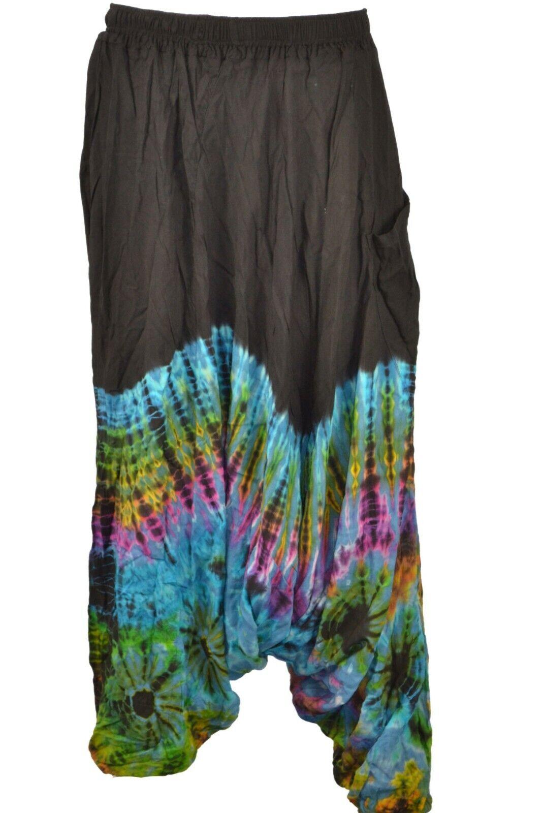 Low Cut Harem Distressed Half Tie Dye Mandala Trousers Hippie Aladdin Trouser