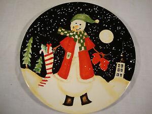Certified International Becca Barton Christmas Snowman Plate Gloves ...