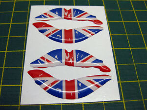 2 UK LIPS DOMED 3D STICKERS KA ESCORT FIESTA FIAT 500