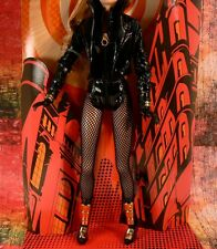 Black Canary Barbie OUTFIT Black Patent Leather NO Tights - NO DOLL