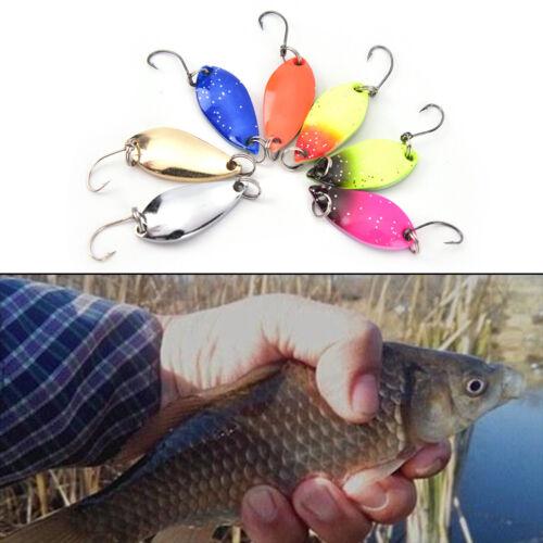 """3cm coloré /""""truite Lure pêche cuillères appâts 7pcs//lot pêche à crochet unique"""