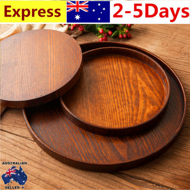 30/33cm Round Wooden Plate Natural Serving Tray Tea Food Server Dishes Platter