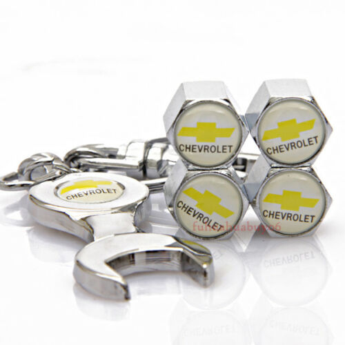Car Tire Valve Caps Air Valve Dust Covers Wrench Keychain Logo For Chevrolet