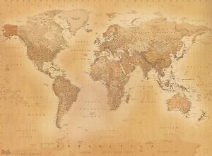 Old style vintage world map wallpaper wall mural 232m x 315m new la imagen se est cargando vintage estilo antiguo mapa del mundo wallpaper mural gumiabroncs Image collections