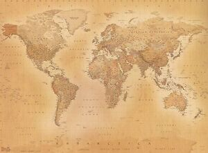 Old style vintage world map wallpaper wall mural 232m x 315m new la imagen se est cargando vintage estilo antiguo mapa del mundo wallpaper mural gumiabroncs Choice Image