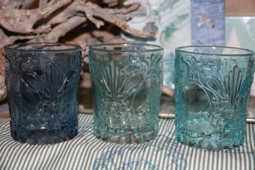 * set de 3 lumignons support verre Gross bleu turquoise vert triés maritime Edel