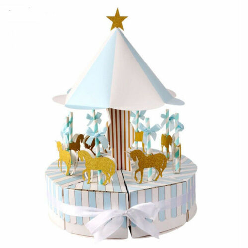 2 set Carousel Sweet Cake Candy Box Gift Boxes With Ribbon Wedding Party Favor
