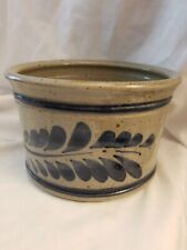 Vintage Blue Salt Glazed Crock, Pottery