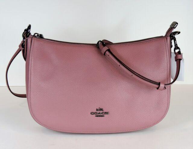 116aae4bf7b1 NEW COACH Chelsea crossbody Hobo 56819 pebble leather zip top bag DK dusty  rose