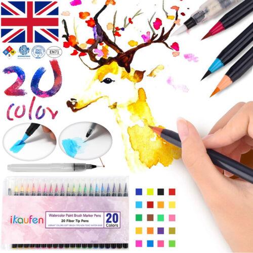 20 Colors Art Oil Watercolor Drawing Painting Brush Sketch Manga Pen Set UK Ship