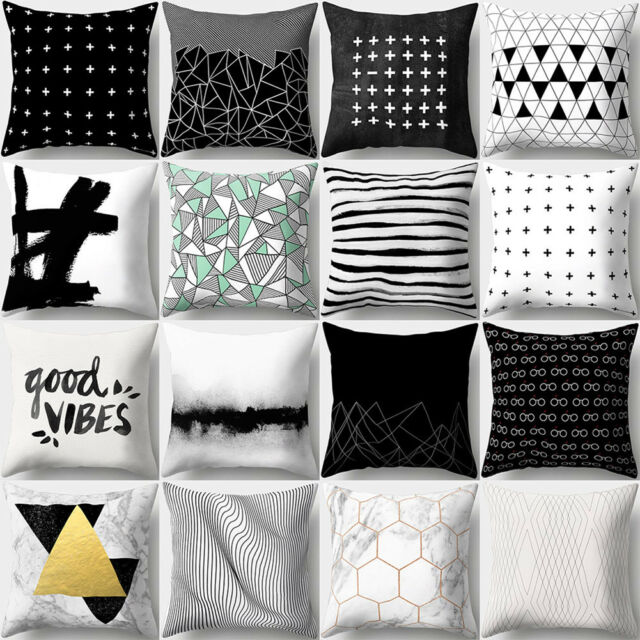 KD_ Concise White Black Throw Pillow Cover Cushion Case Car Home Sofa Decor Da