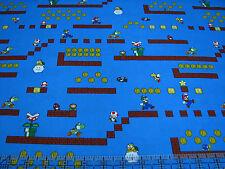 1 Yard Quilt Cotton Fabric - Springs Nintendo Super Mario Platform Game Blue