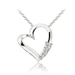 """925 Silver CZ Three Stone Floating Heart Necklace, 18"""""""