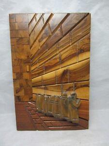 Carved-inlaid-wood-plaque-Hebrew-men-Wailing-Wall-Jerusalem-Israel
