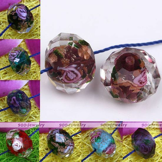 10x Murano Lampwork Glass Foil Flower Faceted Loose Bead For Jewelry Making DIY
