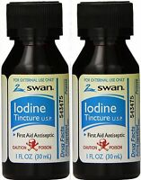 Swan Iodine Tincture Usp 100% First Aid Antiseptic ( 2% Iodine ) 1oz ( 2 Pack )