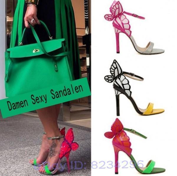 Damen Hochhackige Sandale Fantasie bunten Schmetterling Schuhe Sommer Open Toe