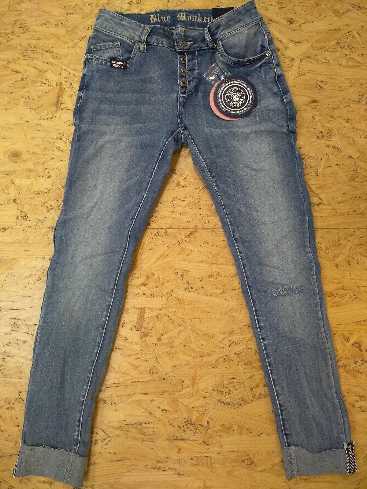 Blau Monkey -- cropped Skinny -- Jeans -- Damen -- Marina 10180 -- Mid Rise