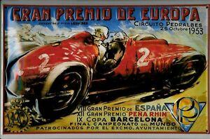 Gran-Premio-De-Europa-1953-Letrero-Metal-3D-en-Relieve-Cartel-Lata-20-X-30CM