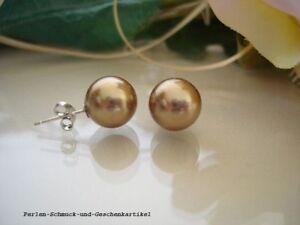 Ohrstecker-MuschelkernPerlen-in-Tahiti-Gold-10-2mm-925er-Silber-TOP-Geschenk