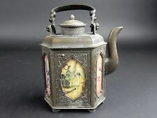 Antique  Hexagon shaped Chinese Bronze Tea Pot with painted panels 7 X 6 X 3