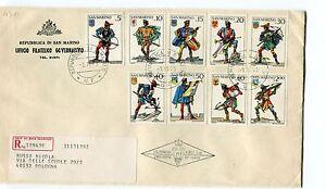1973 Fdc San Marino Balestrieri E Stemmi Castelli Raccomandata First Day Cover RéSistance Au Froissement